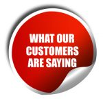 what our customers are saying, 3D rendering, red sticker with white text